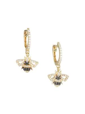 Nina Gilin 14k Yellow Gold & Diamond Bee Charm Huggie Hoop Earrings
