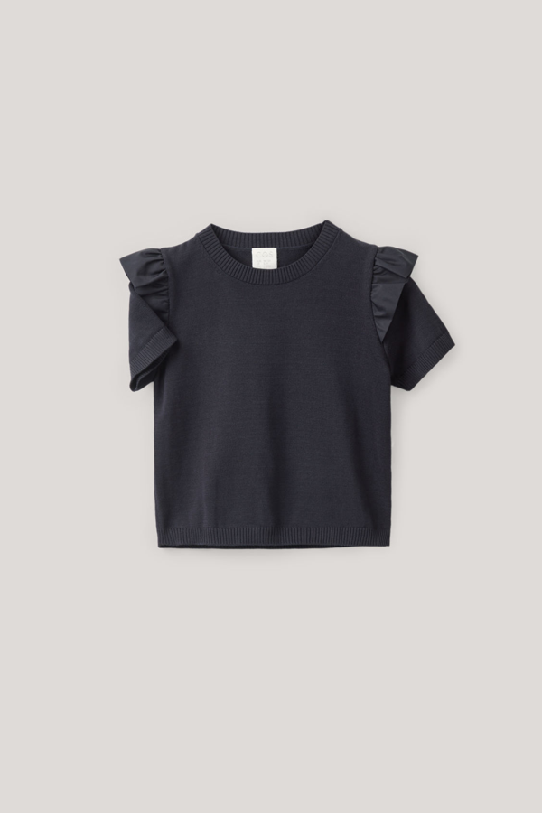Cos Kids' Frilled Knitted Top In Blue