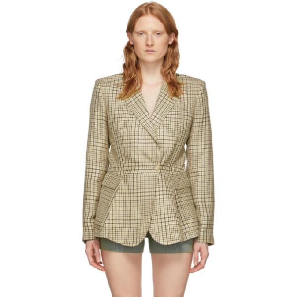 Jacquemus Qui Vole Single-breasted Twill Blazer In Green
