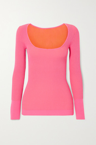 Jacquemus Rosa Scoop-neck Ribbed-jersey Sweater In Pink