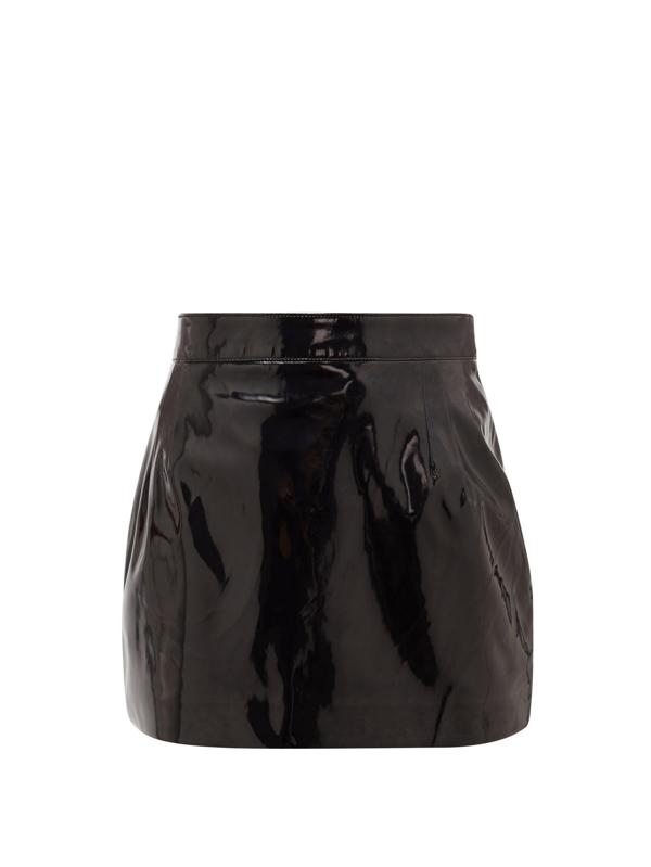 Elzinga High-rise Pvc Mini Skirt In Black