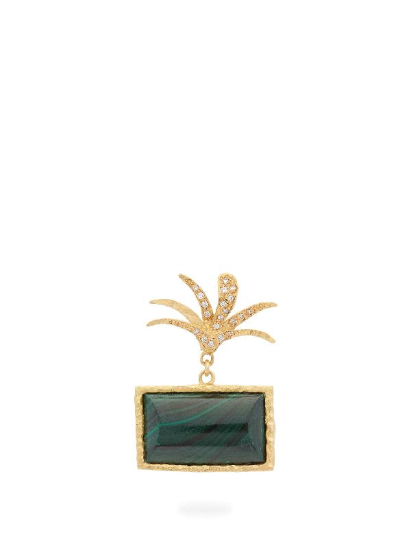 Orit Elhanati Roxy Diamond, Malachite & 18kt Gold Single Earring