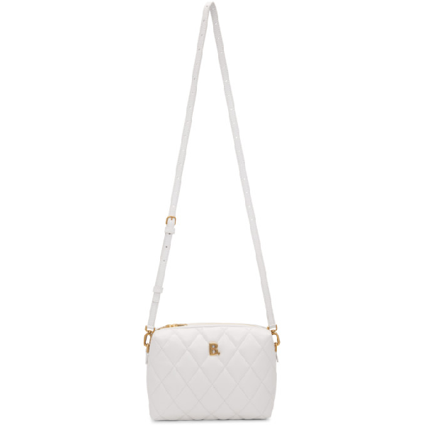 Balenciaga White Quilted Leather B Camera Bag In 9016 White