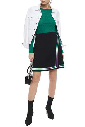 Sandro Anabelle Pointelle-knit Sweater In Emerald
