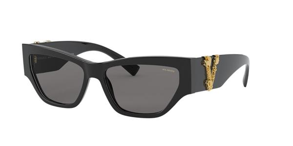 Versace Polarized Sunglasses, Ve4383 56 In Black/polar Grey