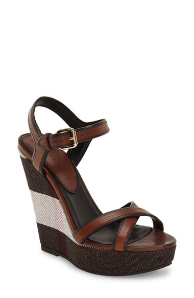 fd256efc31969 Burberry Whelan Crisscross Check Wedge Sandal, Dark Umber Brown In Dark  Umber Leather