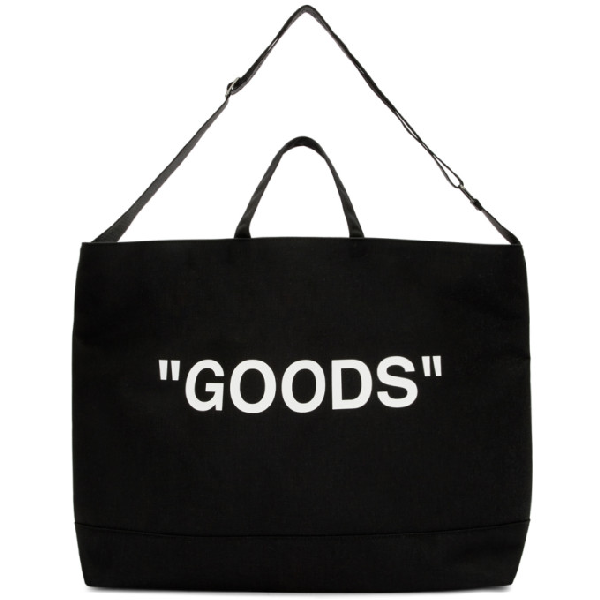 """Off-white Oversized """"goods"""" Tote Bag In Black In Black/white"""