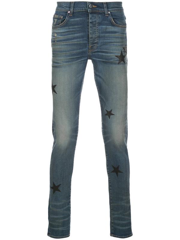 Amiri Denim Slim Fit Star Patch Jeans In Blue