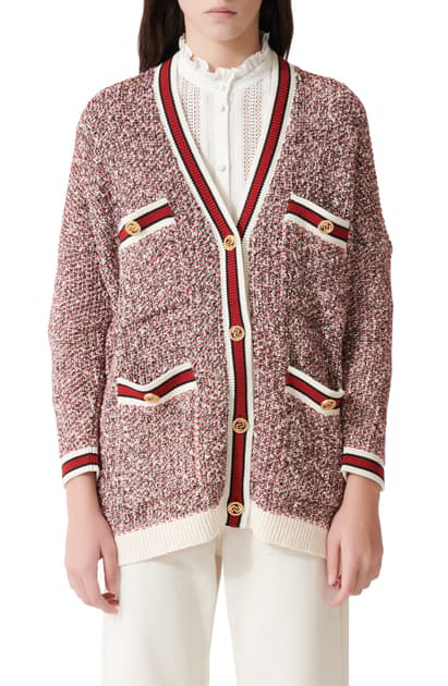 Maje Metallic Knit Relaxed-fit Cardigan In Red / Ecru