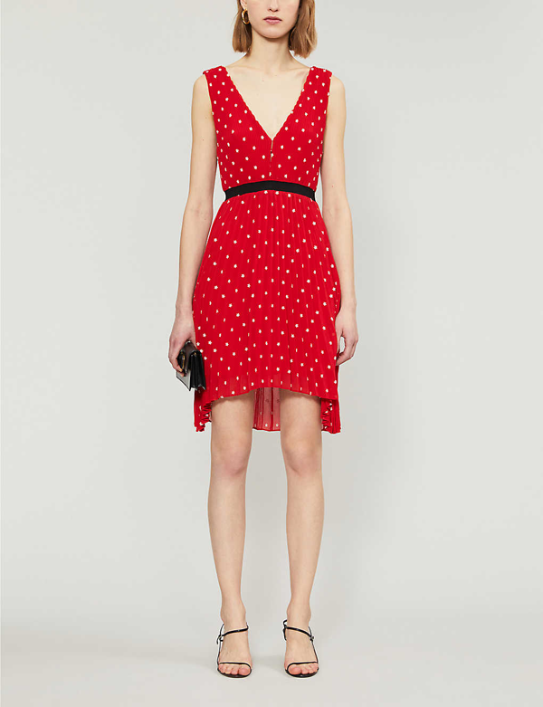 Maje Relina Flower-embroidered Pleated Mini Dress In Red