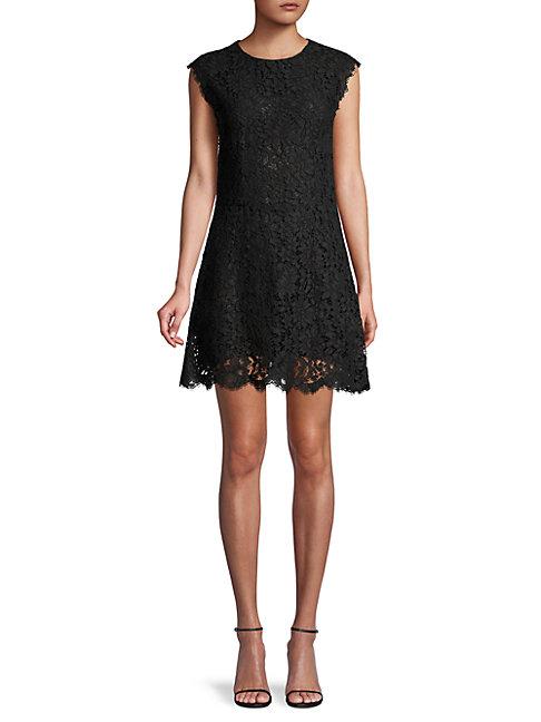 Dolce & Gabbana Floral Lace Mini Dress In Black