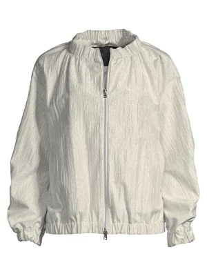 Herno Women's Ruched Metallic Jacket In Silver Pa
