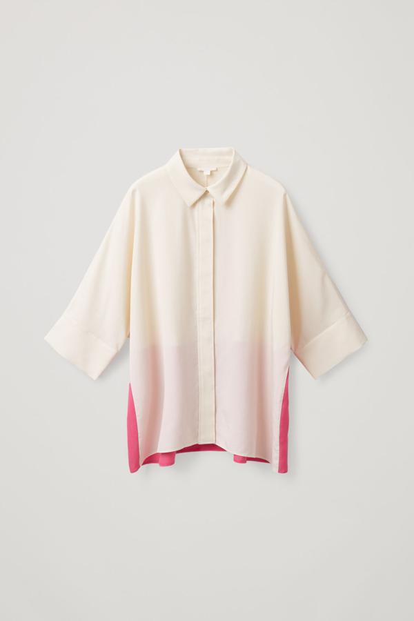 Cos Wide Colour-block Shirt In Beige