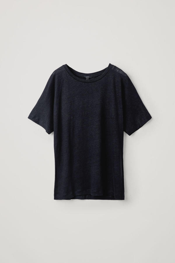 Cos Oversized Linen T-shirt In Blue