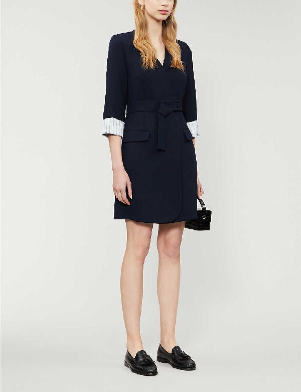 Claudie Pierlot Rafte Woven Wrap Mini Dress In Navy