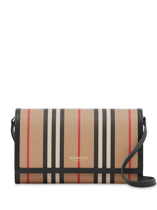 Burberry Icon Stripe E-canvas Wallet With Detachable Strap In Neutrals ,black