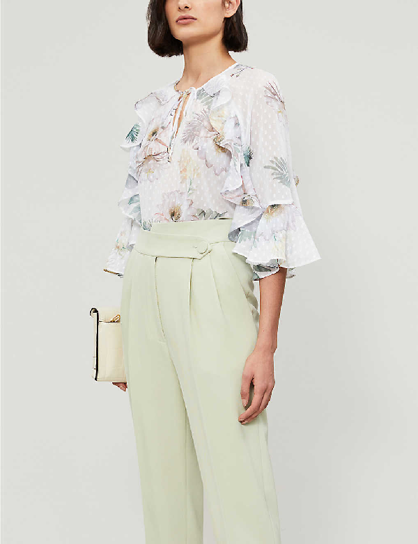 Ted Baker Woodland Floral Ruffle Blouse In Ivory