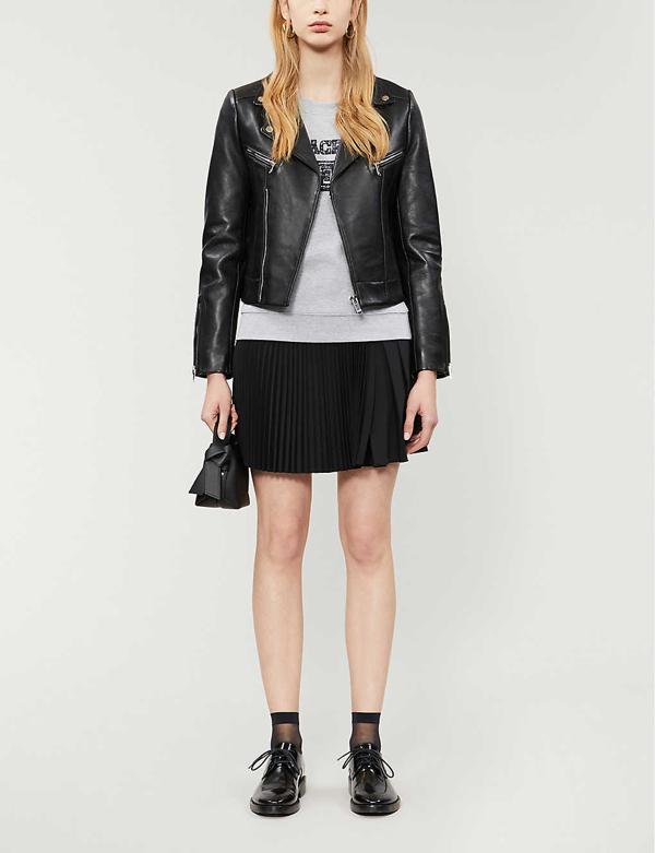 Claudie Pierlot Carissae Leather Biker Jacket In Black