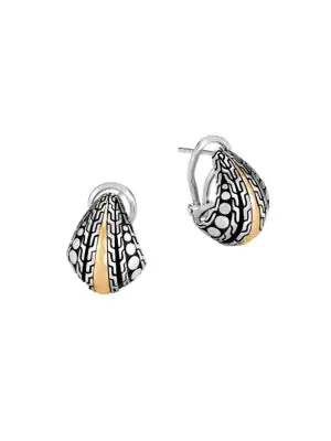 John Hardy Women's Dot 18k Yellow Gold & Sterling Silver Hammered Buddha Belly Earrings