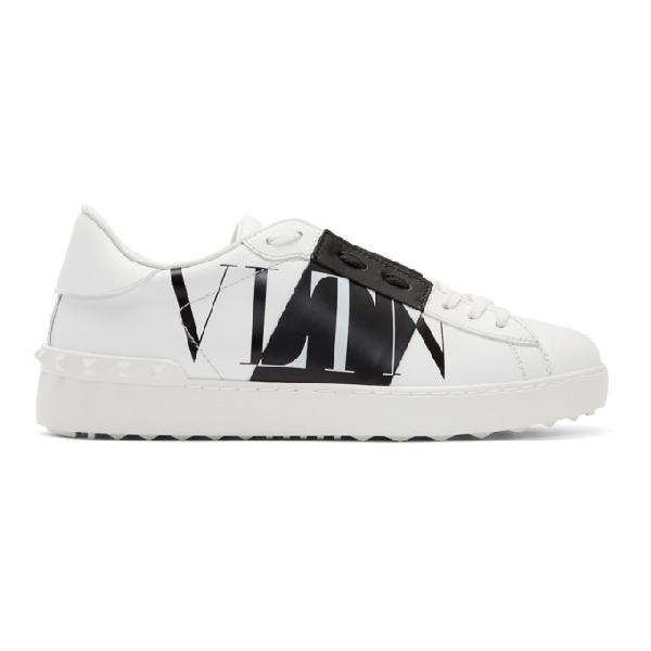 Valentino Garavani Low-top Sneakers Vltn Strap Calfskin Logo White-combo