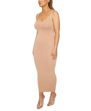 Naked Wardrobe The Nw Hourglass Midi Dress In Tan