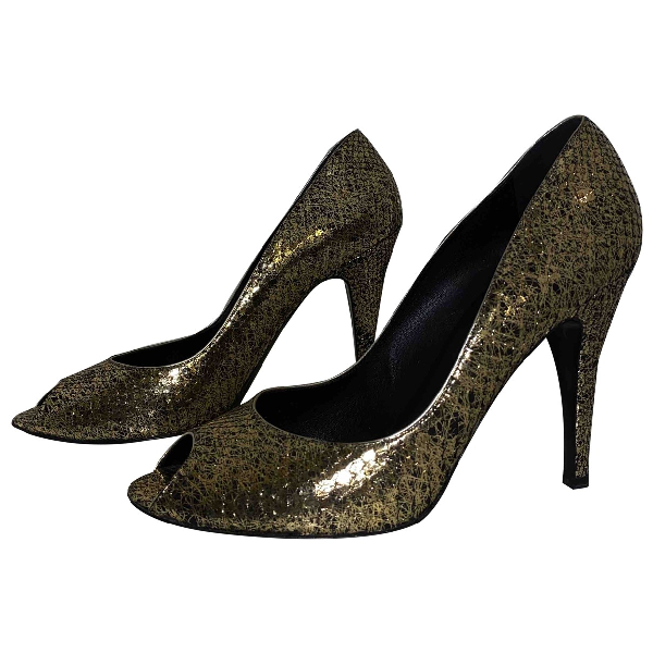 Chanel Gold Python Heels