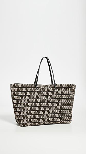 Fendi Black Jacquard Roll Tote Bag