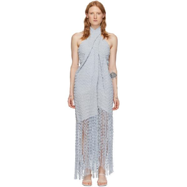 Jacquemus Cortese Fringed AppliquÉd Tweed Halterneck Maxi Dress In Light Blue