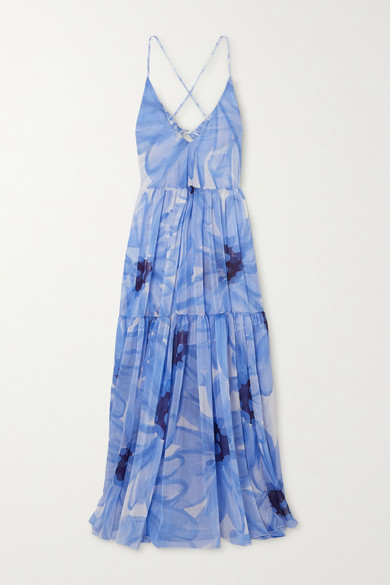 Jacquemus Mistral Tiered Floral-print Georgette Maxi Dress In Blue