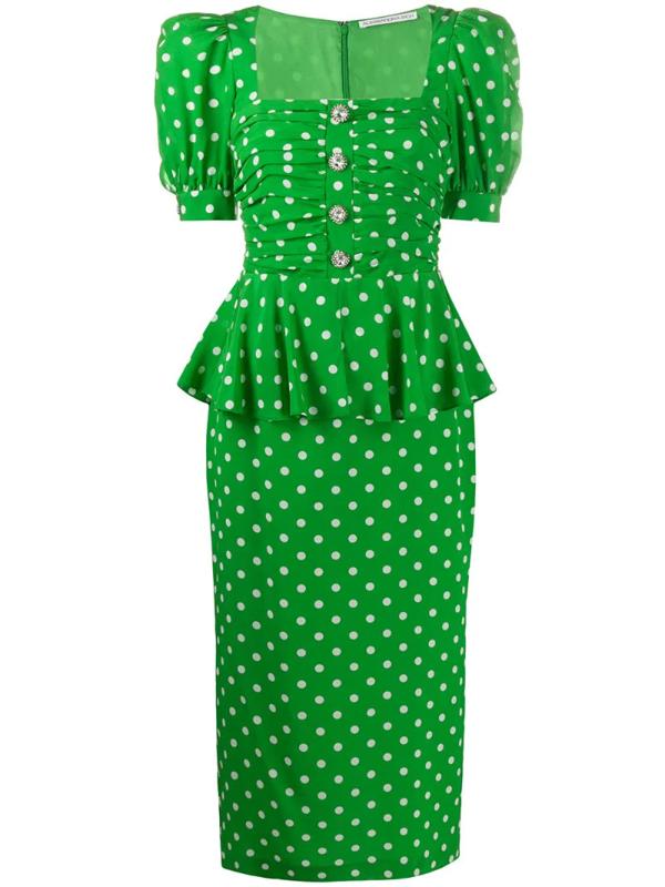 Alessandra Rich Ruched Embellished Polka-dot Silk Crepe De Chine Dress In Green