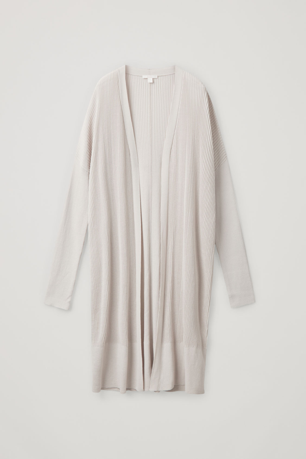 Cos Ribbed Cotton-mix Cardigan In Beige