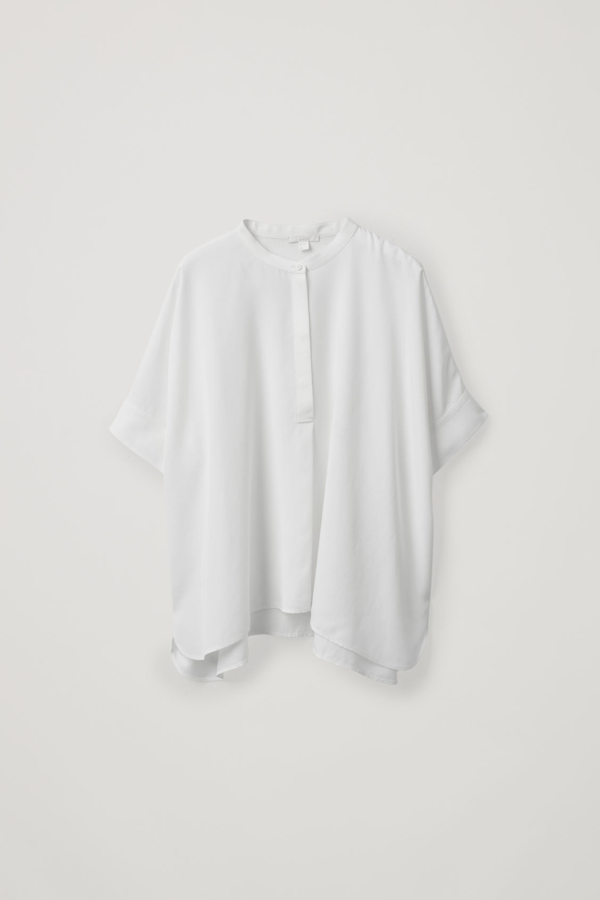 Cos Oversized Half-button Shirt In White
