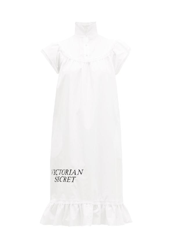 Batsheva Victorian Secret Cotton-poplin Midi Dress In White