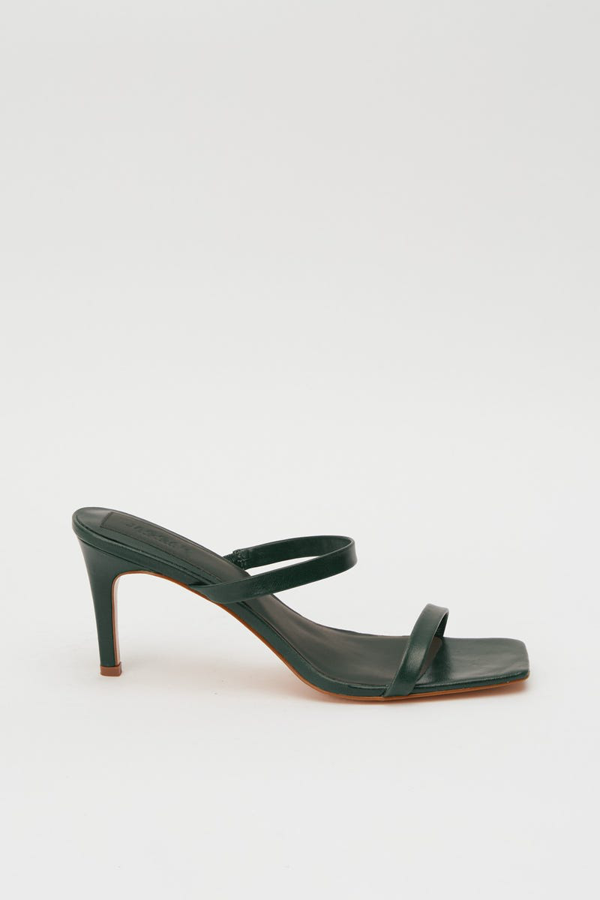 Jaggar Two Strap Leather Heel In Forest