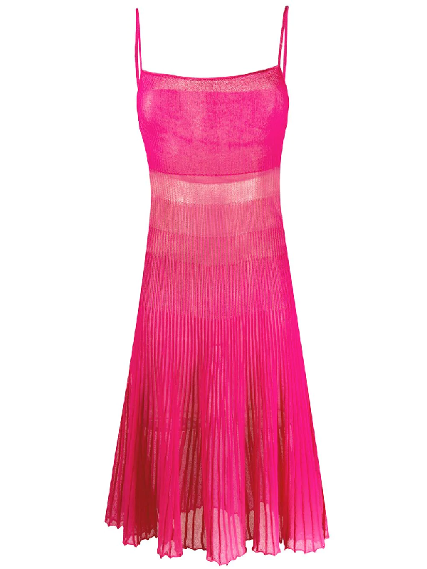 Jacquemus Helado Pleated Cotton Blend Knit Dress In Pink