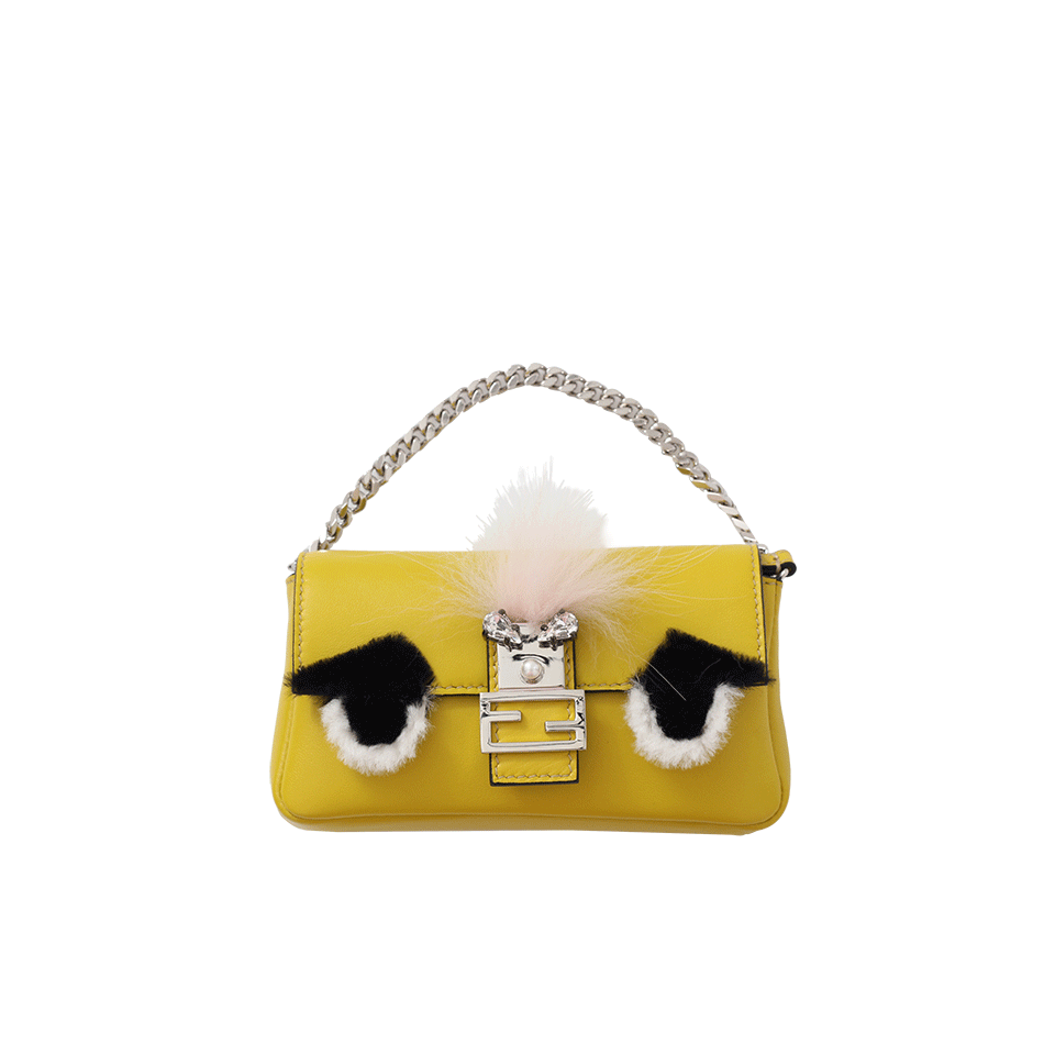 7f2594825a Fendi Micro Baguette Fur-Trimmed Leather Shoulder Bag In Lime +Pink +Palladi