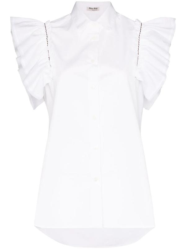 Miu Miu White Ruffled Sleeve Cotton Blouse