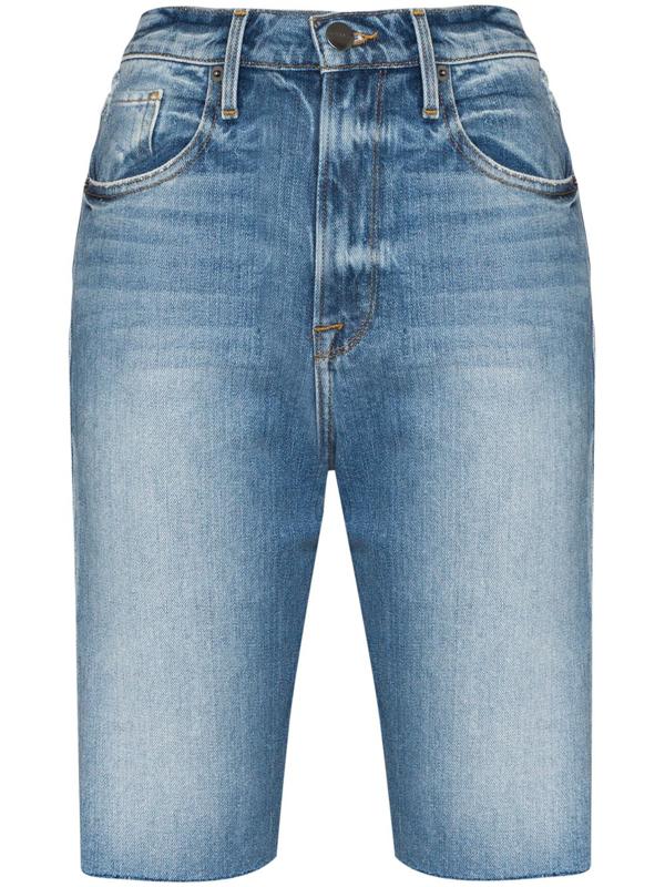Frame Women's Le Vintage High-rise Bermuda Denim Shorts In Blue