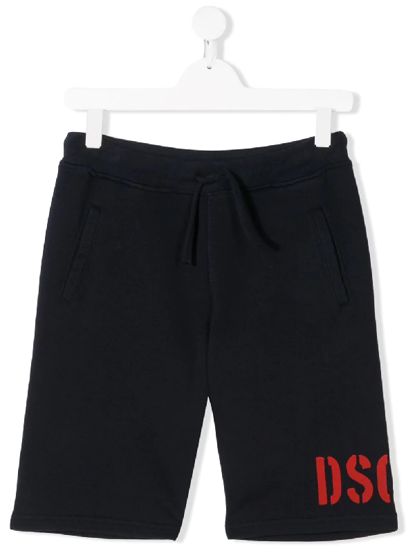 Dsquared2 Teen Logo-printed Track Shorts In Blue