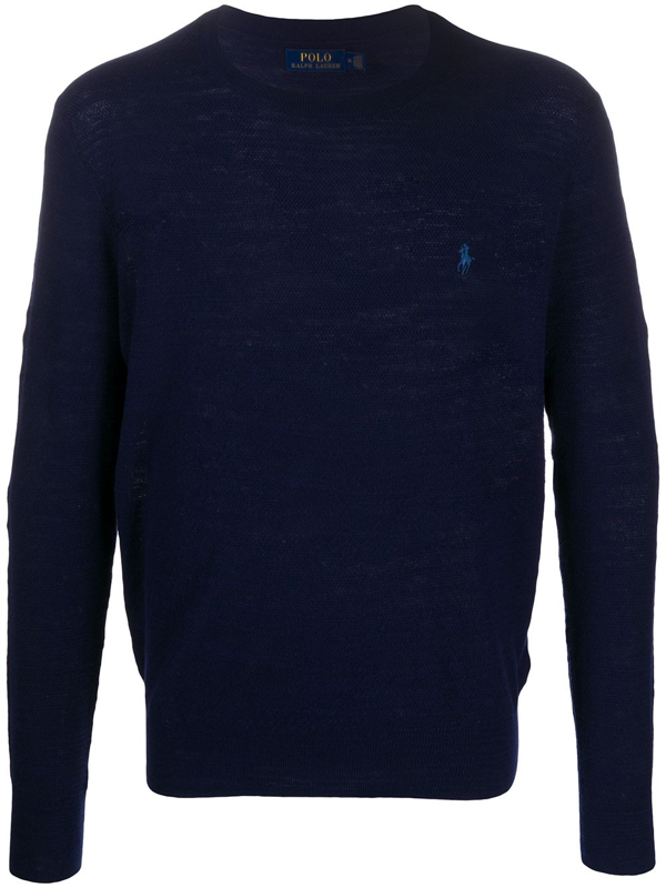 Polo Ralph Lauren Embroidered Logo Knitted Jumper In Blue