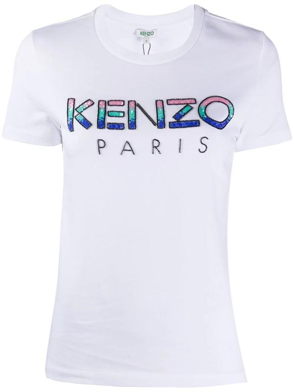 Kenzo Paris Straight Sequin Logo T-shirt In White