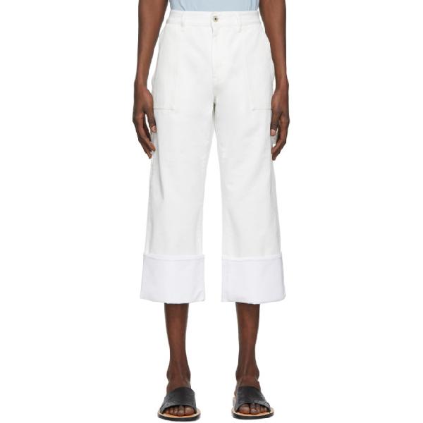 Loewe Cuffed-hem Cropped Wide-leg Trousers In White