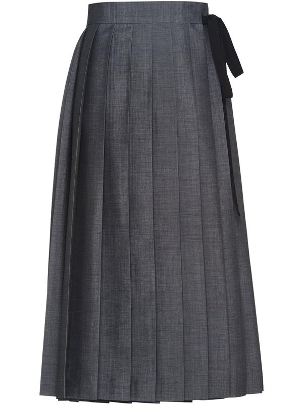 Prada Pleated Tie Back Mohair Wool Midi Skirt In Grey