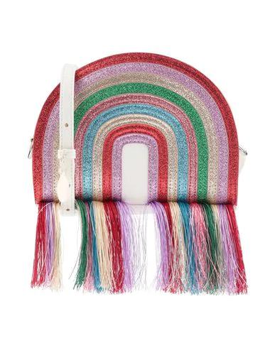 Stella Mccartney Kids' Red Rainbow Tassel Glitter Shoulder Bag In Ivory