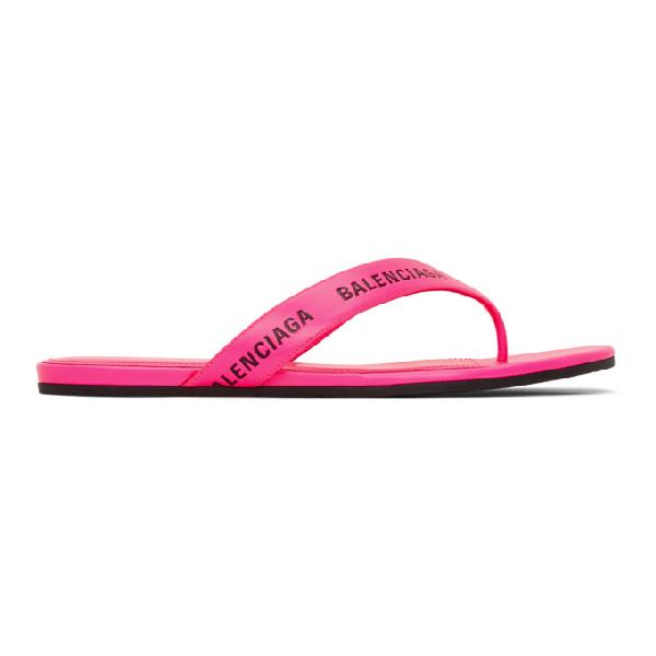 Balenciaga Logo Leather Thong Sandals In 5610 Neon P
