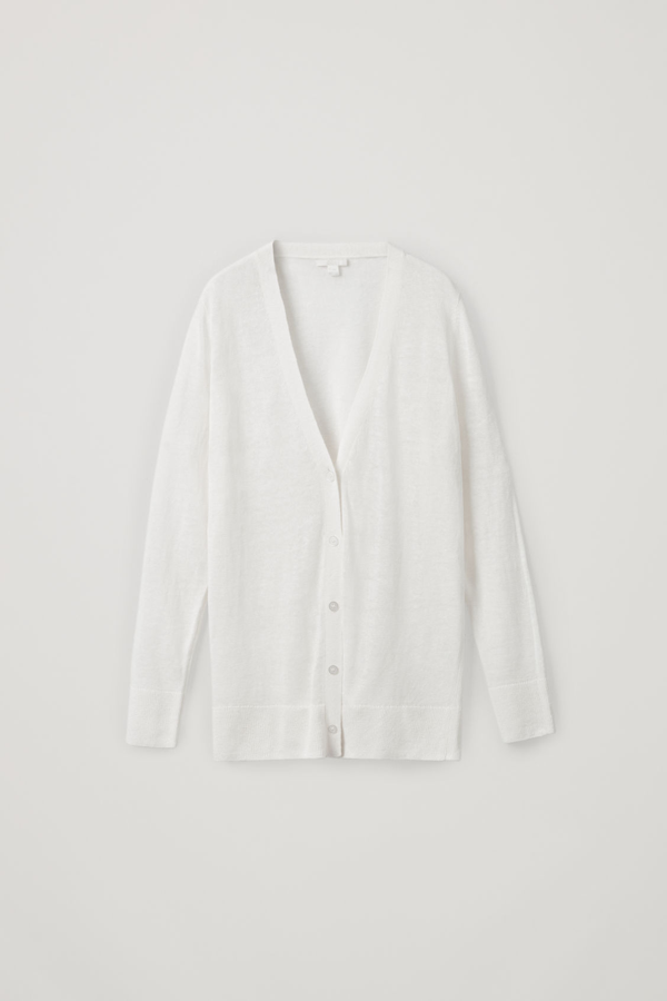 Cos Linen-mulberry Silk Cardigan In White