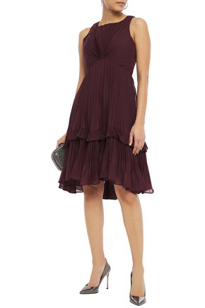 Halston Ruffle-trimmed Pleated Voile Dress In Merlot