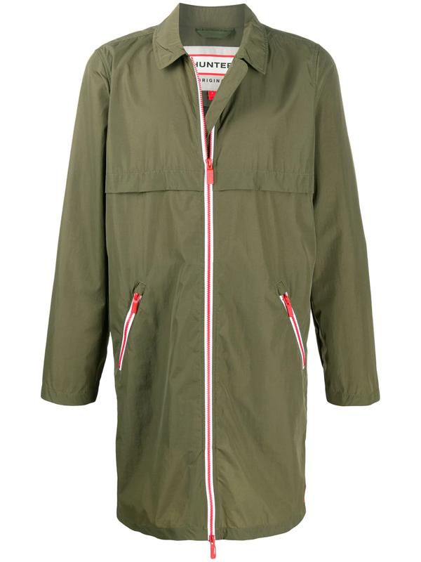 Hunter Water-resistant Zip-up Coat In Green