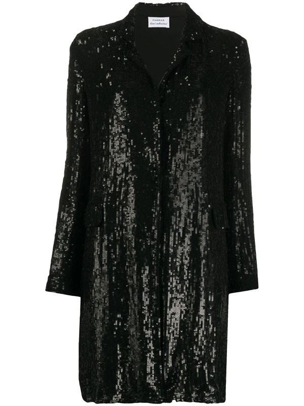 P.a.r.o.s.h. Sequinned Open-front Coat In Black