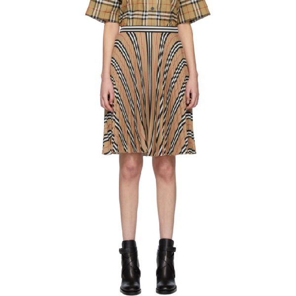 Burberry Icon Stripe Pleated Checkered Skirt In Archive Beige